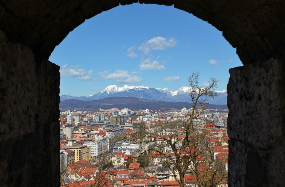 Ljubljana Castle views through the ramparts