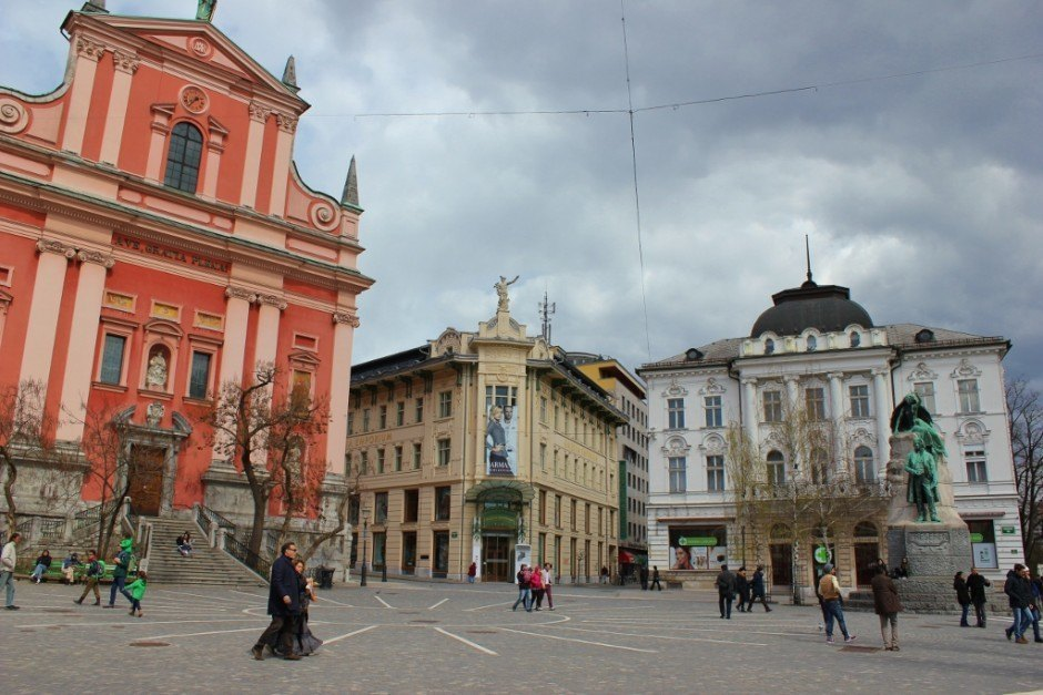 Preseren Square, the main square in Ljubljana, Slovenia