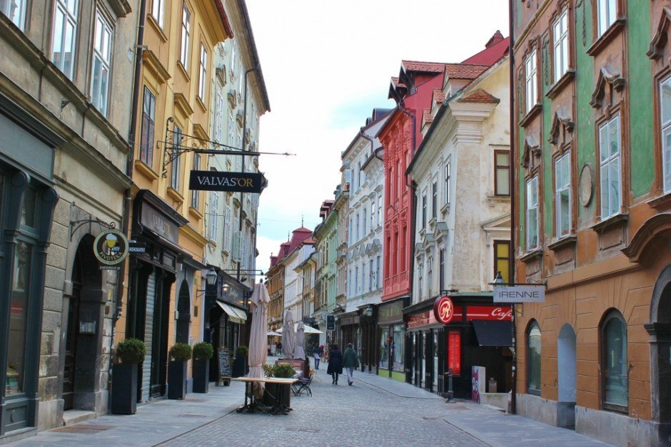 The historic Old Town in Ljubljana, Slovenia