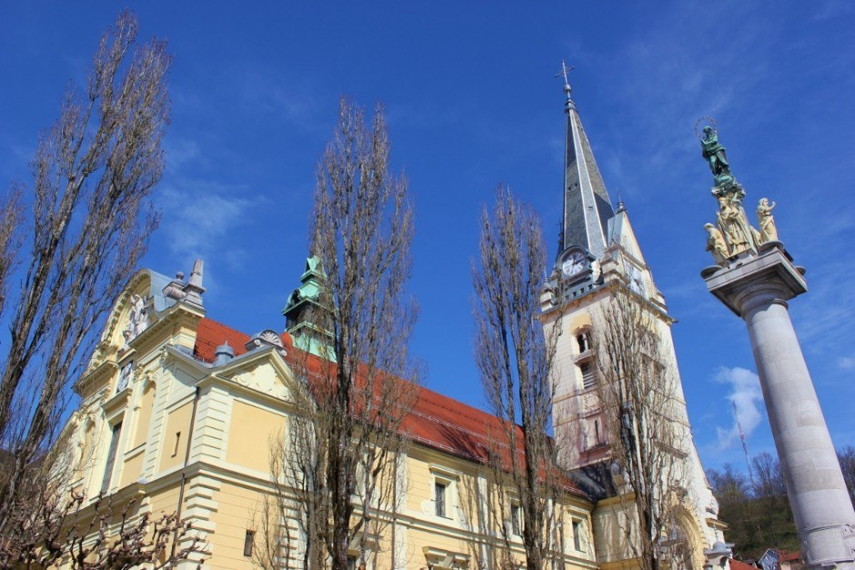 St. James Church and St. Mary's Column in Ljubljana, Slovenia