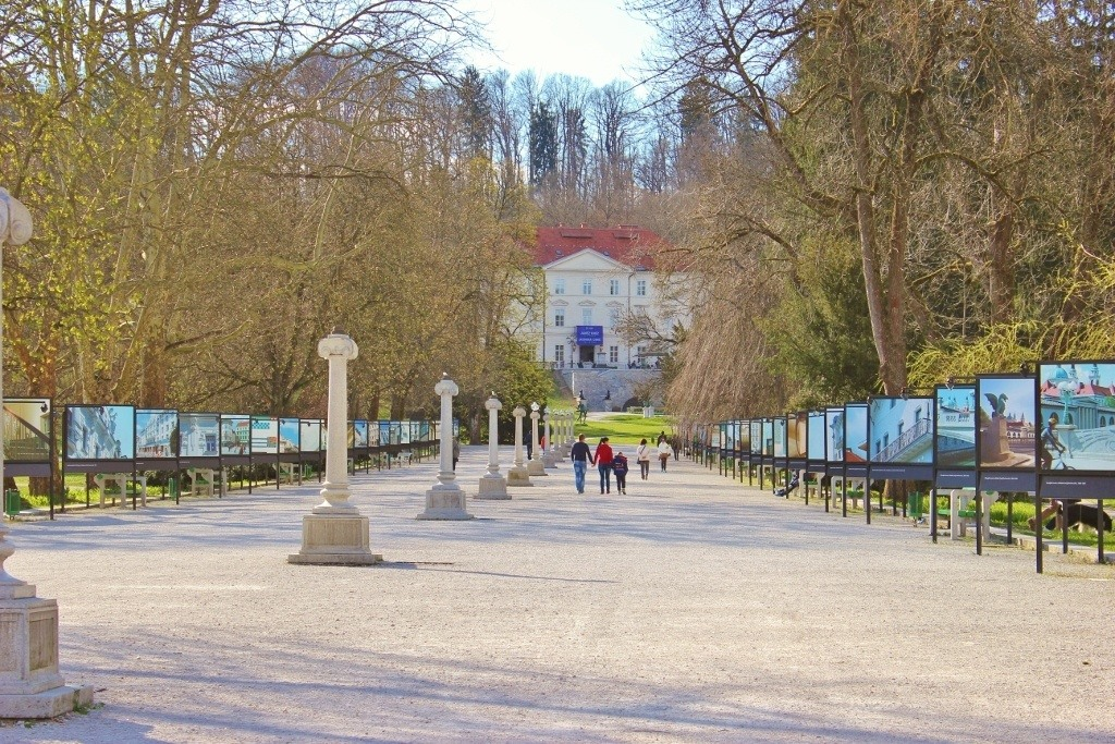 Nature paths in Ljubljana: The art-lined promenade leads into Tivoli City Park and to the Tivoli Castle