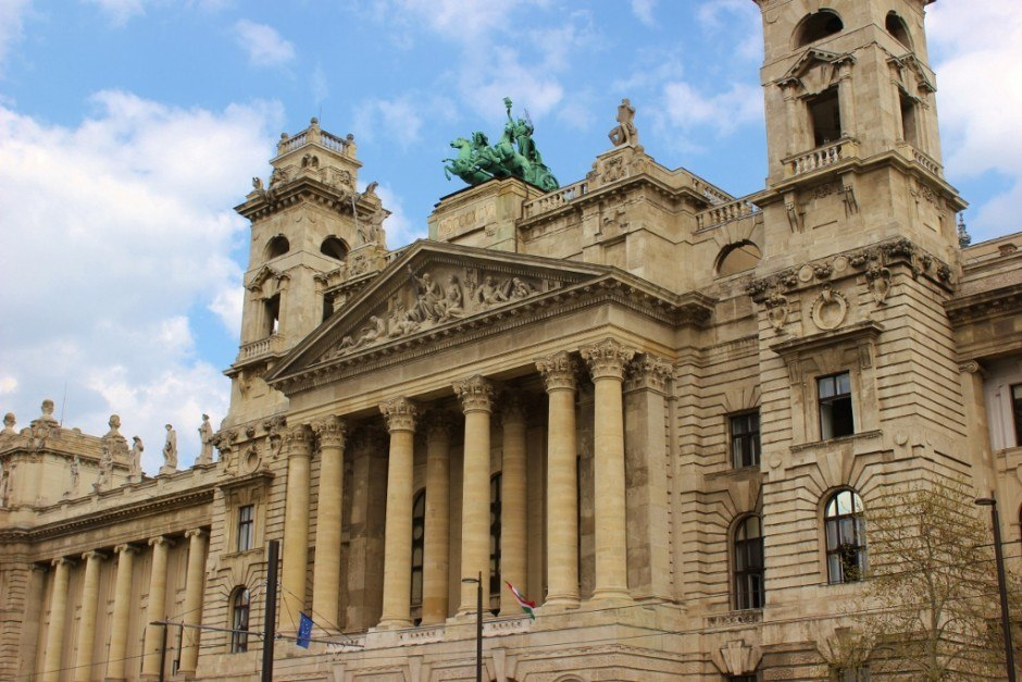 Iconic Budapest sights: Grand buildings ring Parliament, including this one that houses the Ethnographic Museum, but was originally built for the Ministry of Justice.