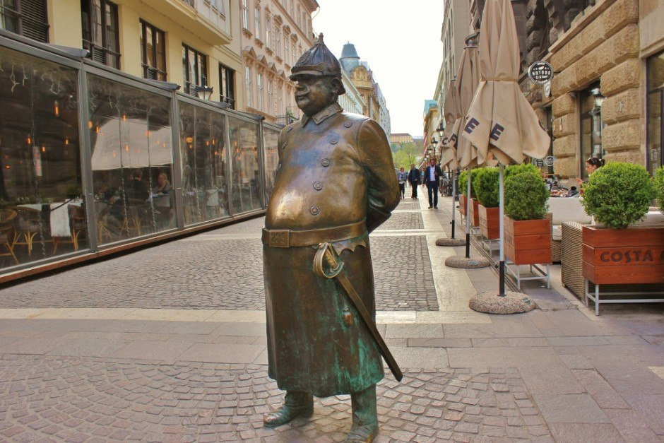 Iconic Budapest sights: Statue of an old-time Hungarian police officer.