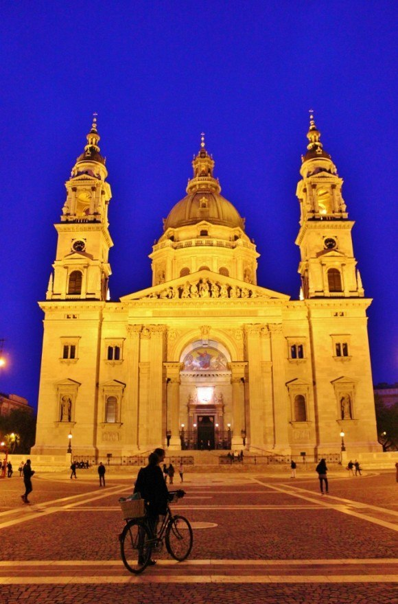 Budapest on a tight budget: The iconic sights of Budapest glow under spotlights after the sun goes down. St. Istvan's Basilica was stunning at night.