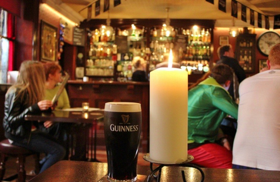A pint of Guinness at The Brazen Head Dublin Ireland