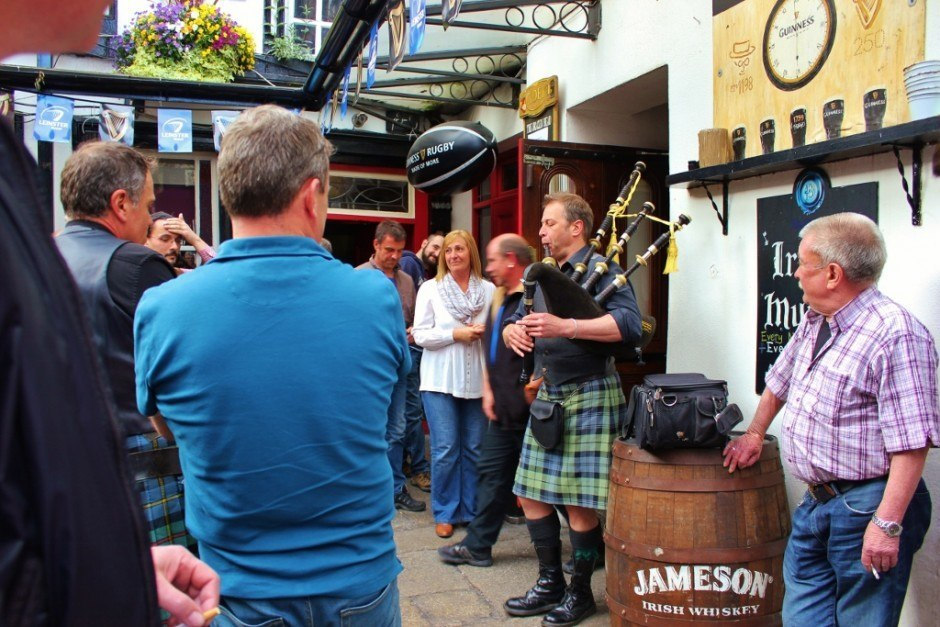 Even the Scots get in on the action during a tradtional Dublin, Ireland Sunday Session at The Brazen Head