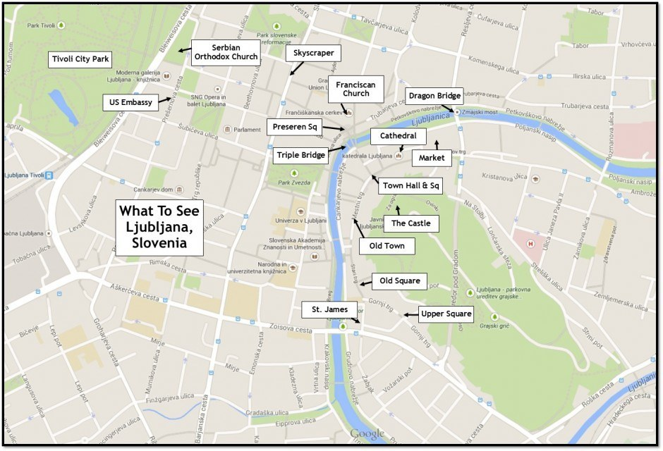 Map of Ljubljana Sights