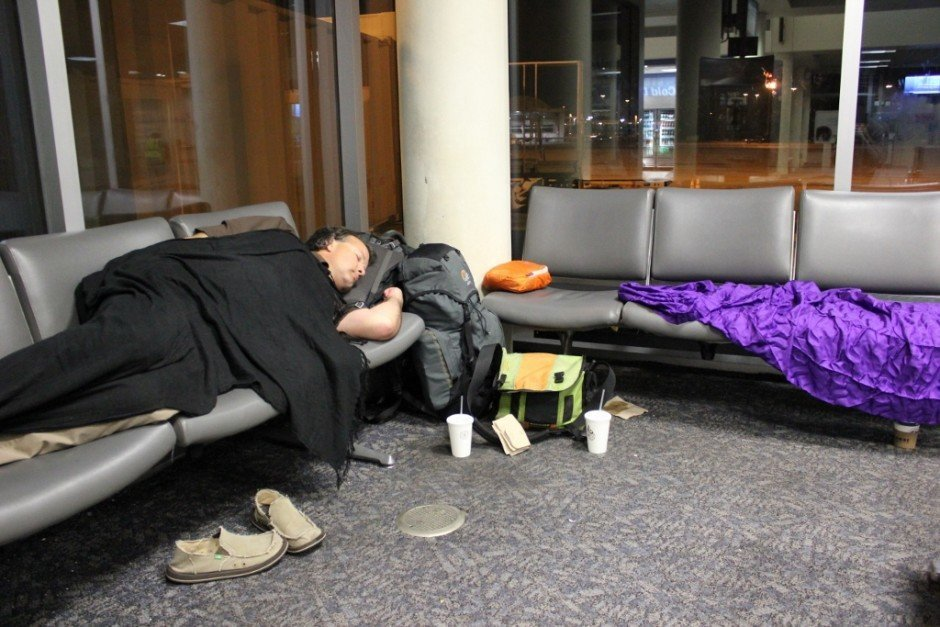 Sleeping in the Philadelphia Airport after a lackluster welcome back from our RTW trip