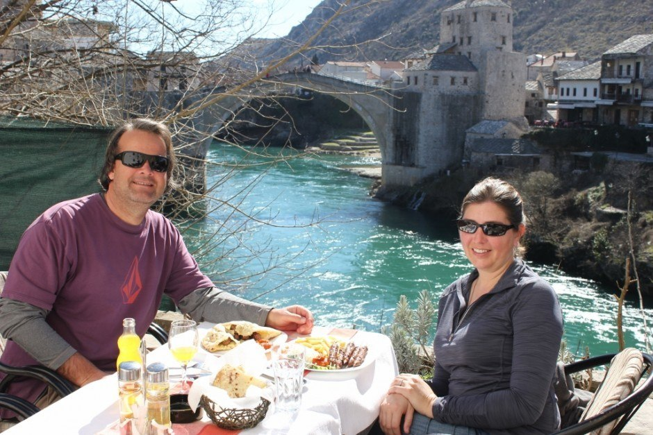 Year-long, Round the World Budget: In Mostar, we ate out more often, as our accommodations and food were so inexpensive!