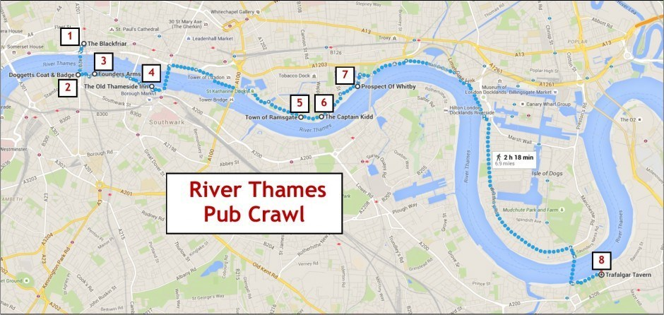 River Thames Pub Crawl map