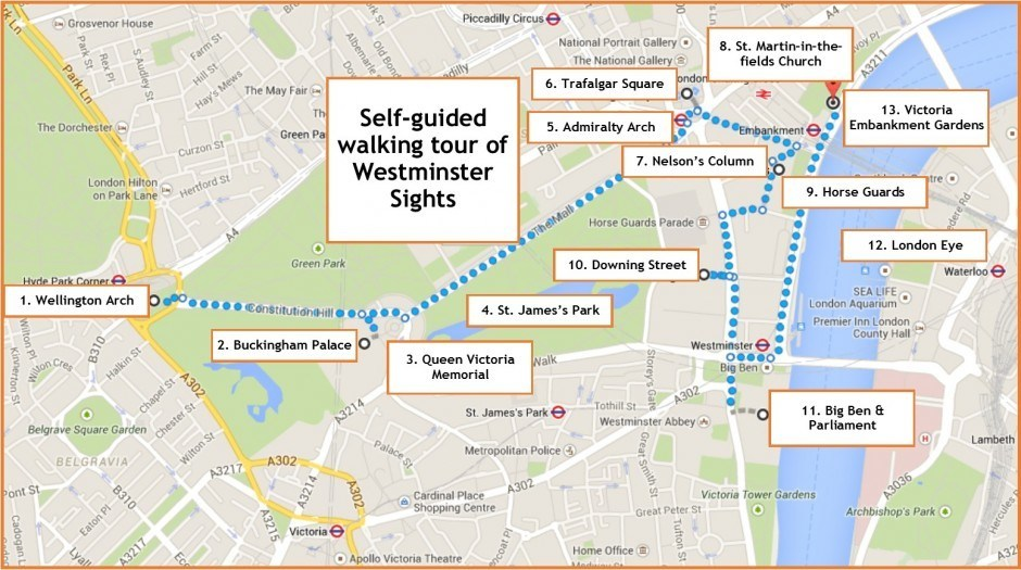 Westminster sights map