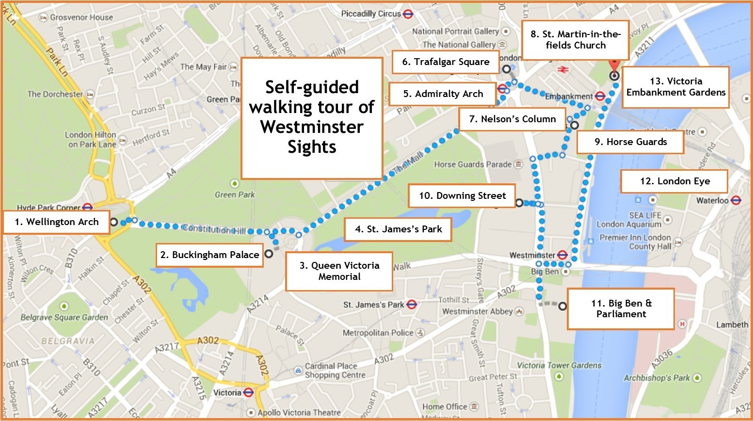 Westminster sights a selfguided walk in London Jetsetting Fools – Sights of London Map