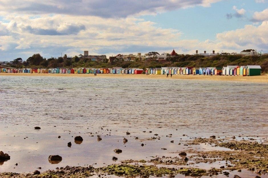 Brighton Beach Bathing Boxes as seen from afar.