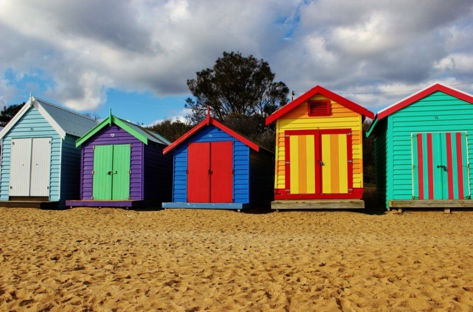 Vibrantly painted Brighton Beach Bathing Boxes.
