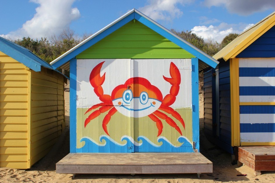 Brighton Beach Bathing Boxes: Playfully painted featuring a crab