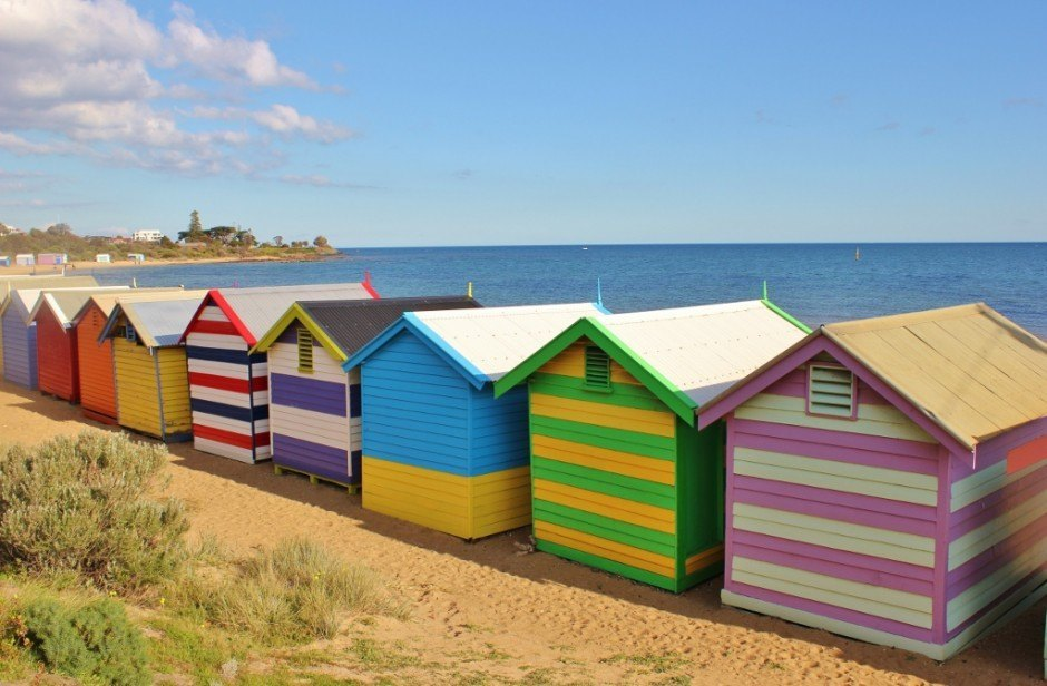 Brighton Beach Bathing Boxes: A view from behind the boxes