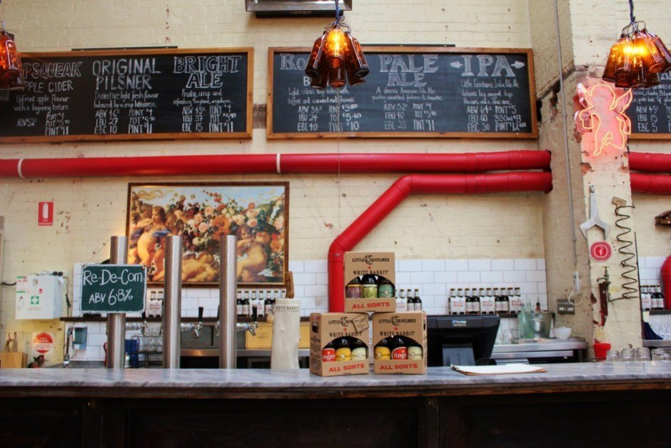 At Little Creatures Dining Hall, they only serve their own beers on tap, which makes it a little different than most Fitzroy pubs