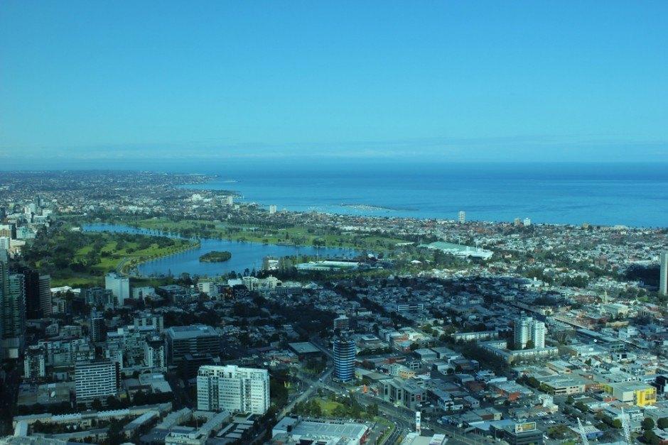 The Mornington Peninsula coastline and Port Phillip Bay from the Eureka Skydeck.