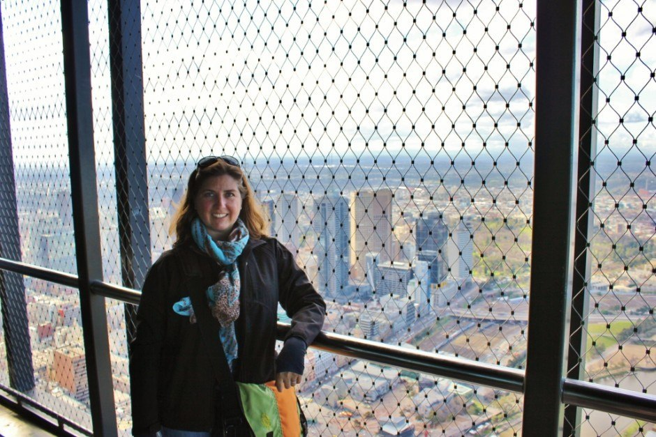 Sarah fighting her fear of heights on the outdoor terrace of the Eureka Skydeck.