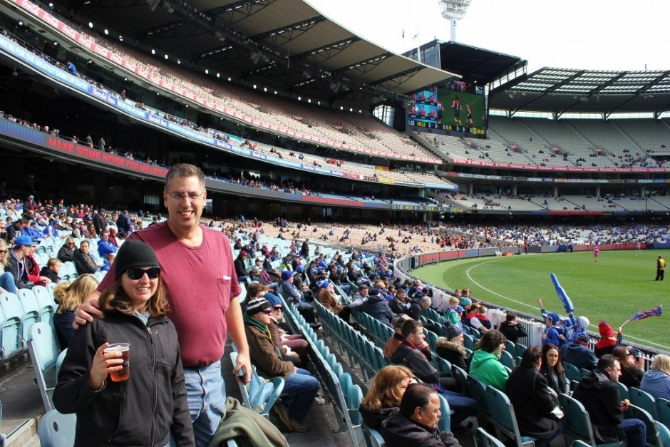 Sarah and Vinny at the MCG for Australian Football