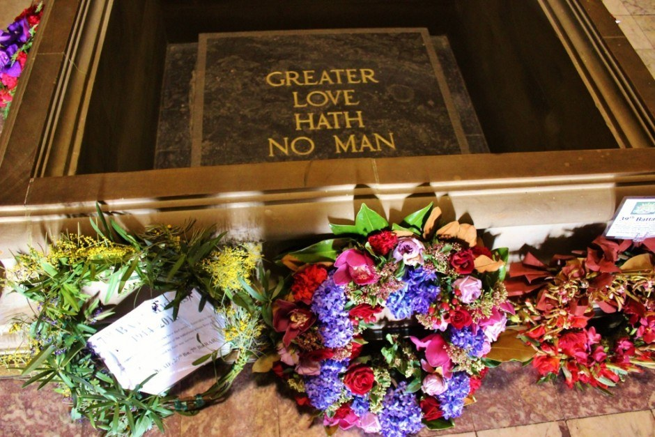"""A simple marker stating """"Greater Love Hath No Man"""" is found inside the Shrine of Remembrance"""