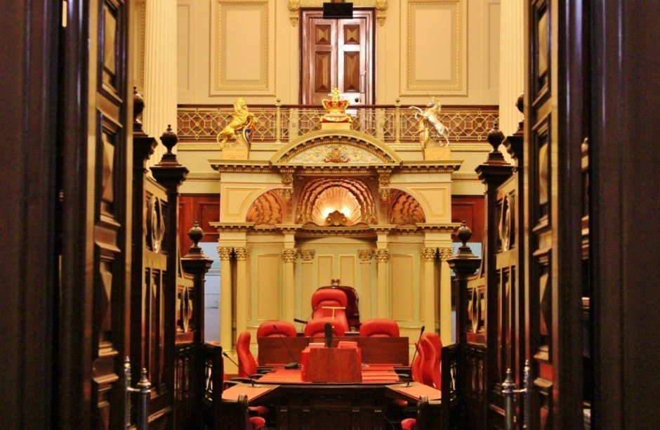 The Melbourne Parliament tour viists the Legislative Council Chamber