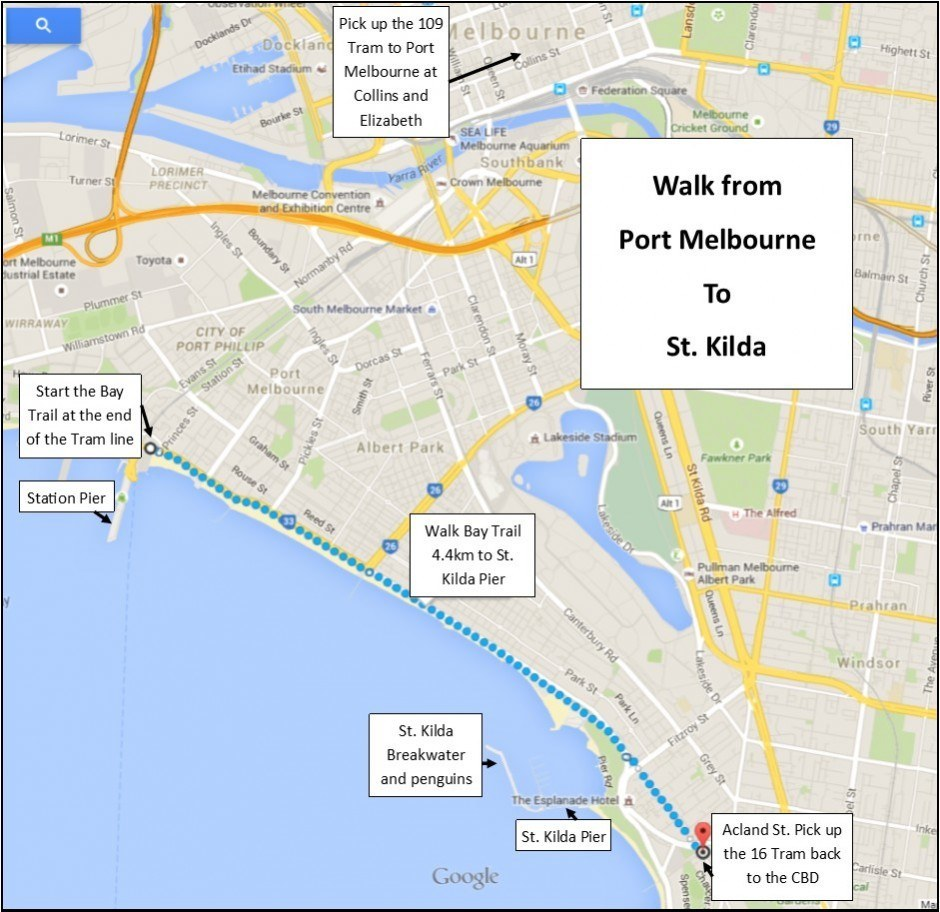 Walk from Port Melbourne to St. Kilda Map