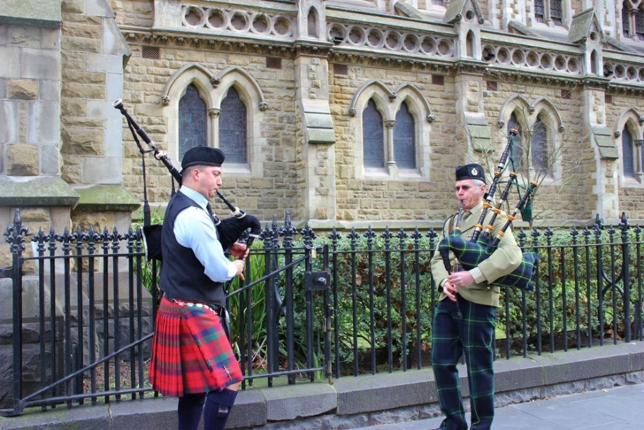 Lads were playing bagpipes outside the Scots' Church - one of the 5 religious buildings in Melbourne that we visited.