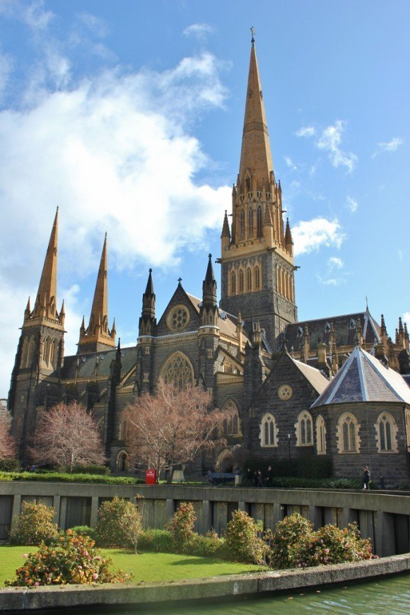 A view of St. Patrick's Catholic Cathedral from the gardens - one of the 5 religious buildings in Melbourne that we visited.