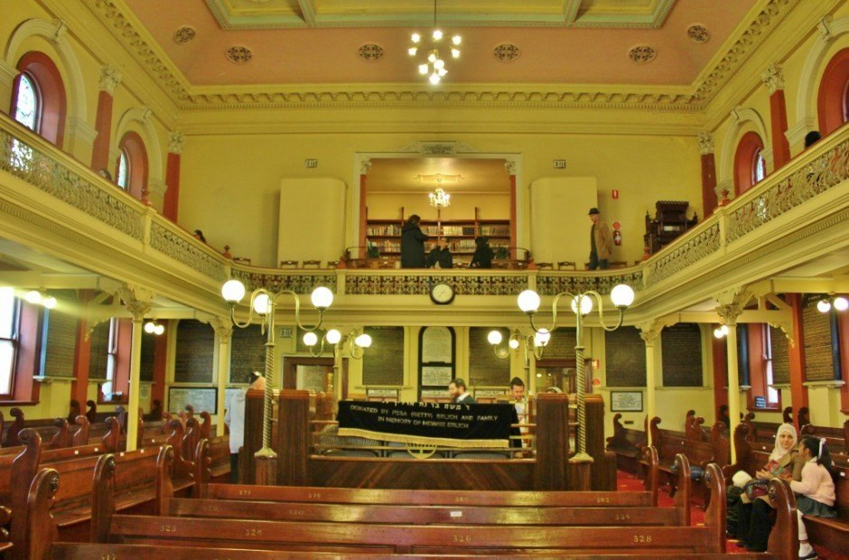 A view of the inside of the Melbourne Synagogue, which was one of the 5 religious buildings in Melbourne that we visited.