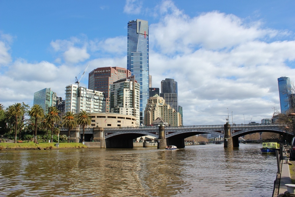 A view of Princes Bridge and Eureka Tower from a boat cruise on the Yarra River