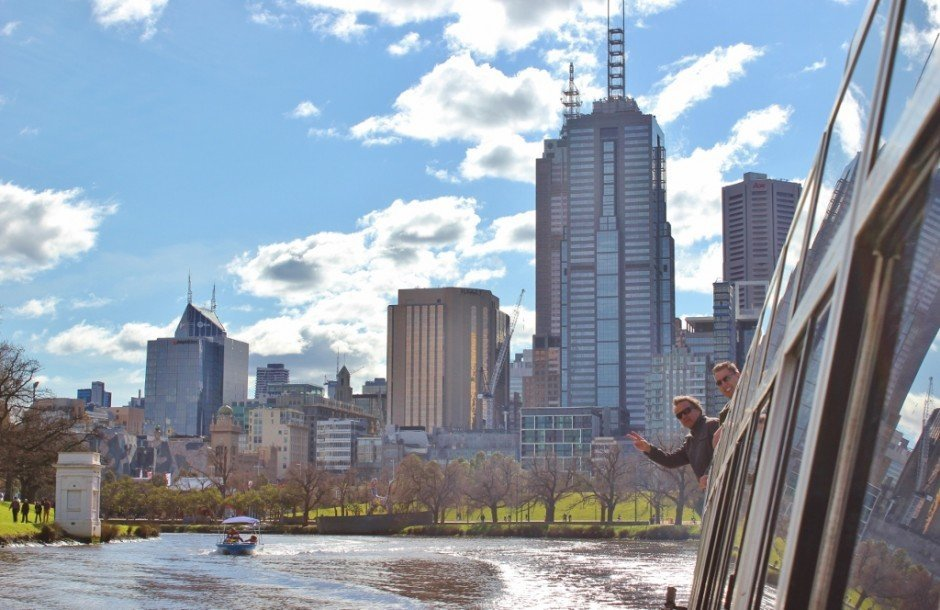 Leaning out the window during our boat cruise on the Yarra River