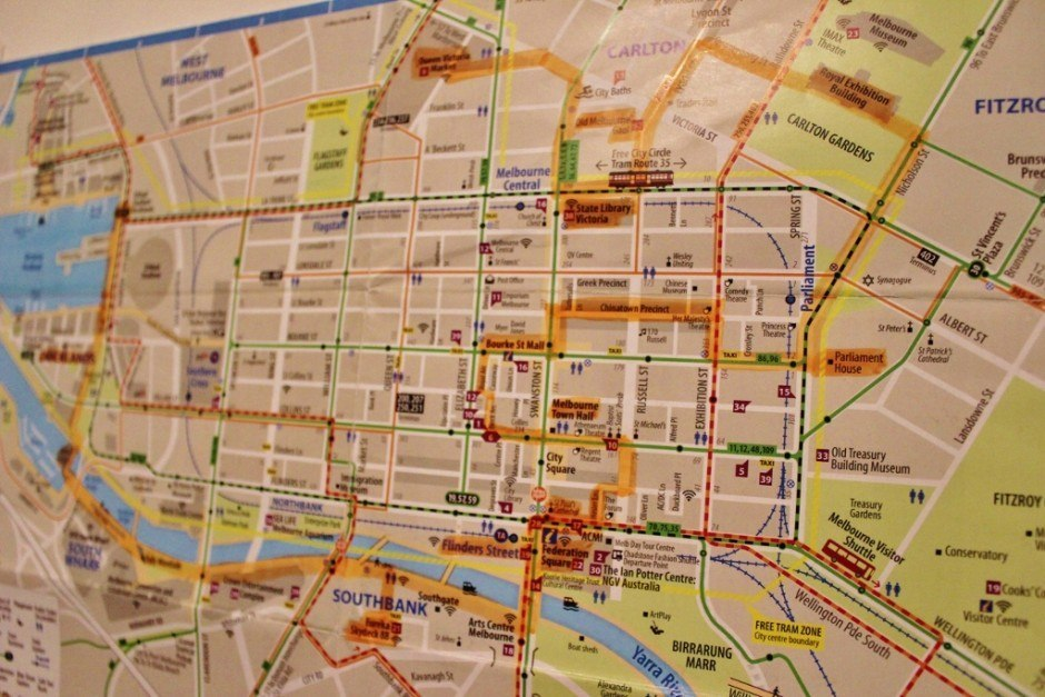 Map of self-guided walking tour of Melbourne