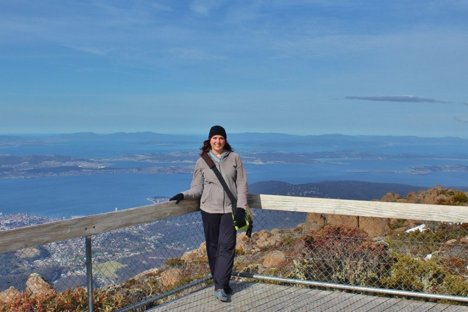 Taking in the view from the top before hiking down Mount Wellington
