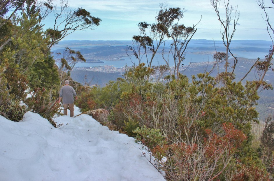 Hiking down Mount Wellington in the snow covered trails