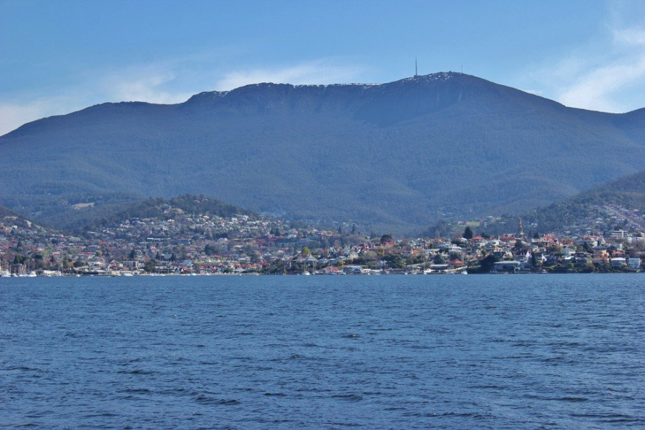 Hobart, Tasmania with Mount Wellington in the distance