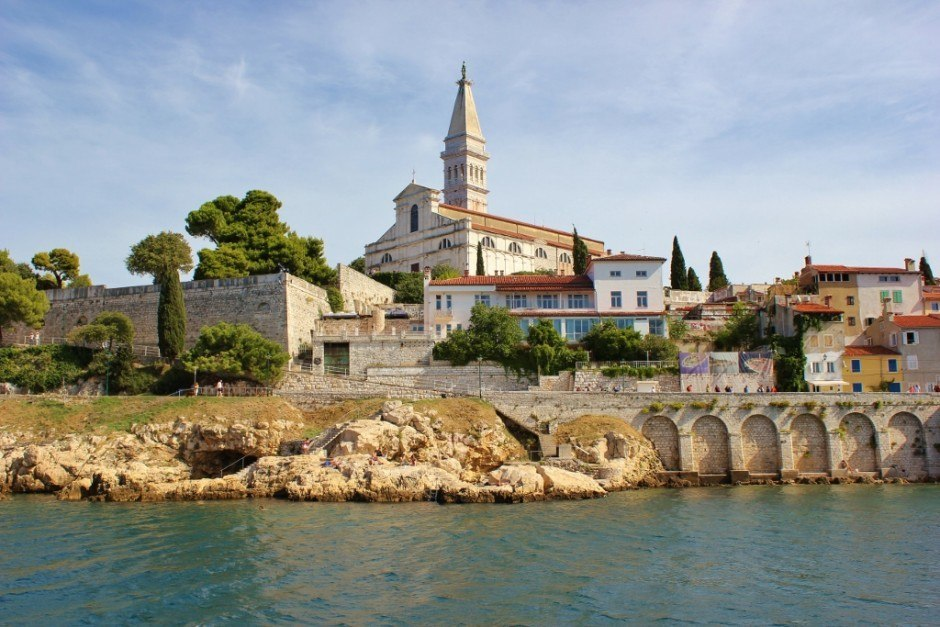 St. Euphemia Church in Rovinj, Croatia from the sea.
