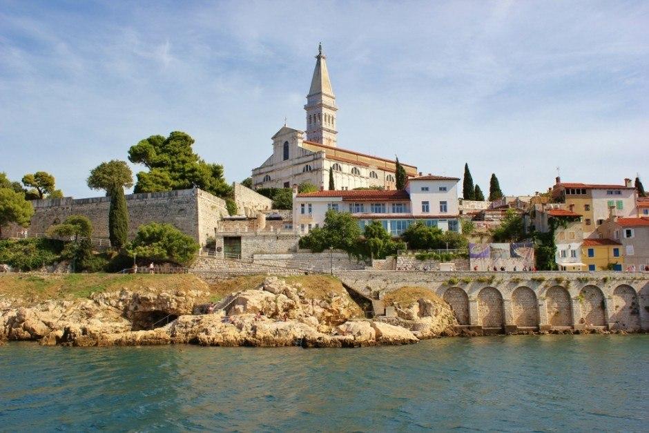 St. Euphemia Church in Rovinj, Croatia from the sea.