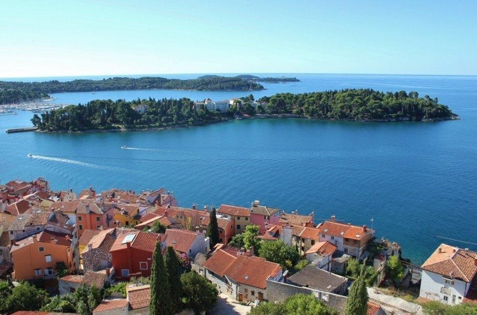 St. Katarina Island as seen from the church bell tower in Rovinj, Croatia
