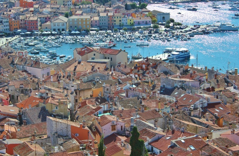 Views over Rovinj, Croatia from the church bell tower