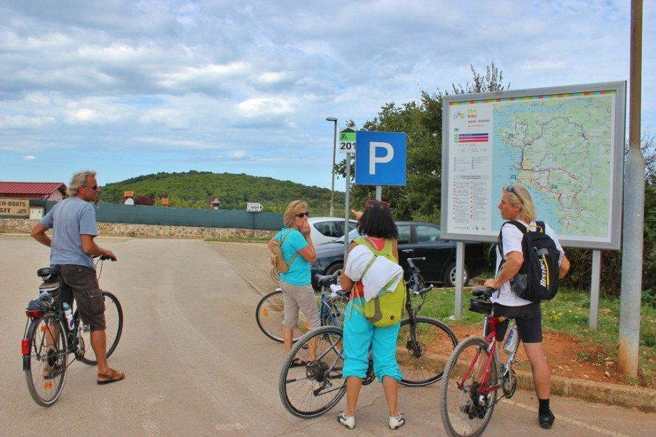 The official trailhead for Trail 201 and a map of hiking and biking trails in Rovinj Croatia
