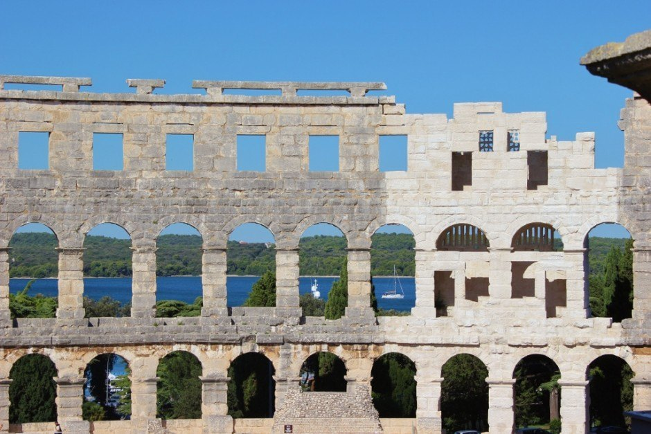 Roman Amphitheater in Pula Croatia with views out to the Adriatic Sea