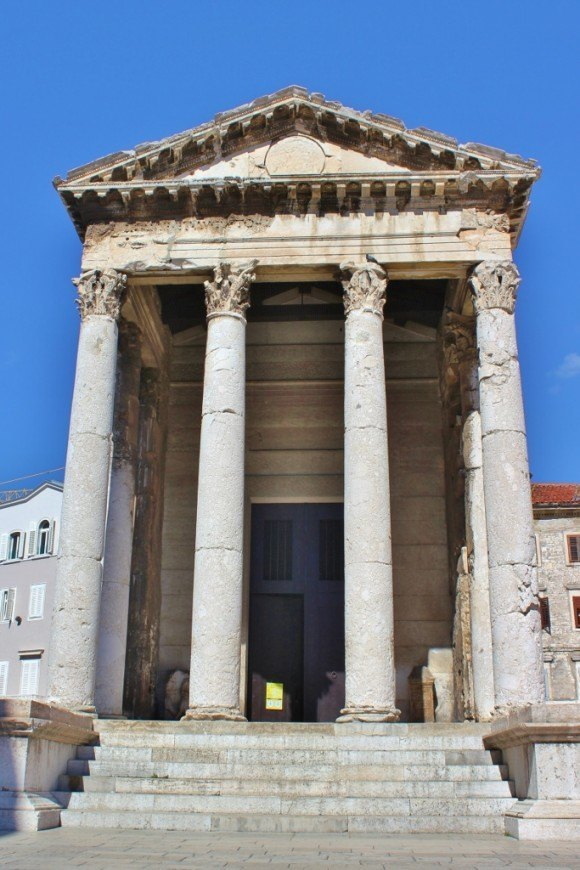 The Temple of Augustus in the city center square, The Forum, in Pula, Croatia