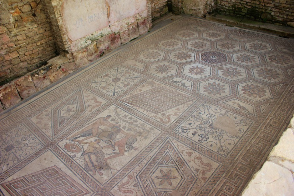 The Roman Mosaic Floor in Pula, Croatia is made of intricately laid tiles