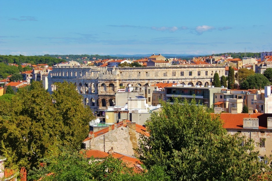 Views of the Roman Amphitheater from Fort Kastel in Pula, Croatia