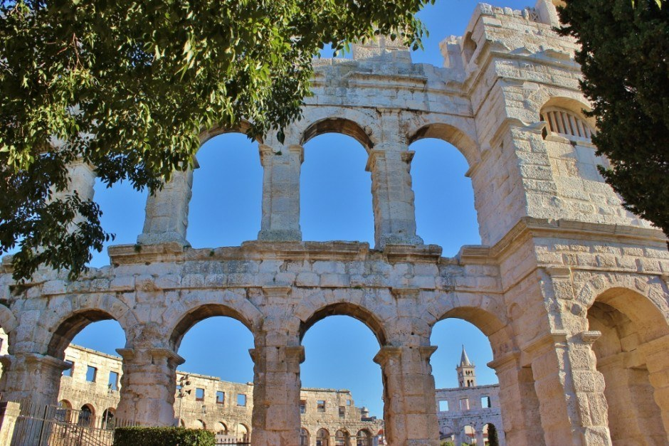 Arches of the Pula amphitheater in Croatia