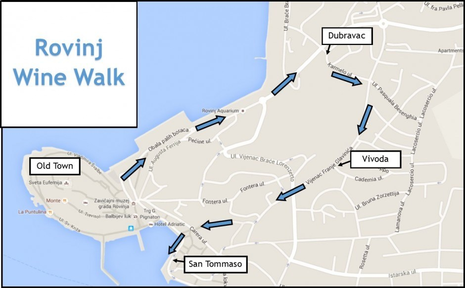 Wine Tasting in Rovinj Wine Walk Map