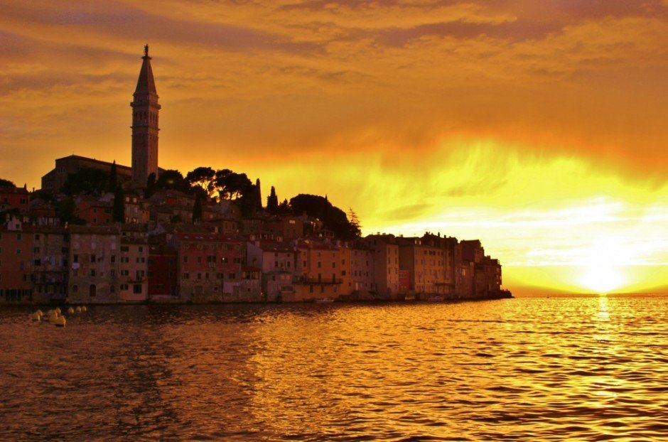 The dock at the car park may not be very romantic, but it's a great place to watch sunsets in Rovinj, Croatia