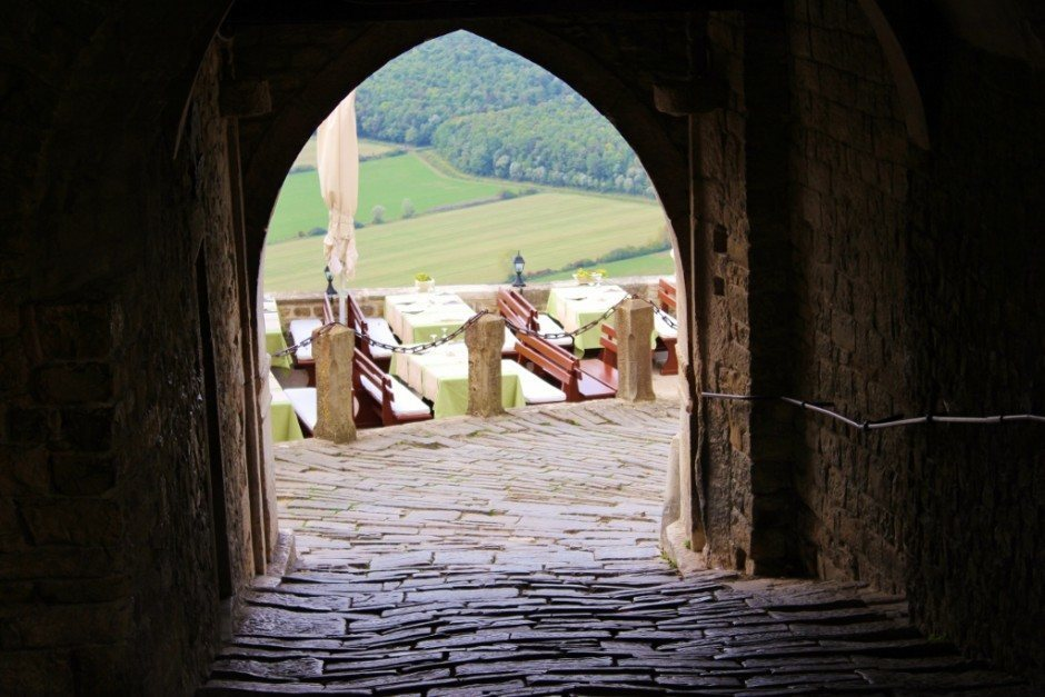 Looking back through the gate that leads to Motovun's main square