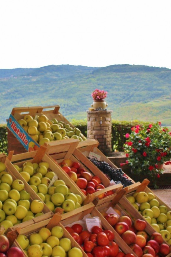 A small shop in Motovun sells produce with a view!